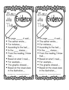 Show Me the Evidence free printable. Useful sentence starters for citing text evidence in student writing. Reading Strategies, Reading Skills, Reading Comprehension, Comprehension Strategies, Reading Practice, Reading Groups, Reading Passages, Reading Activities, Sentence Starters