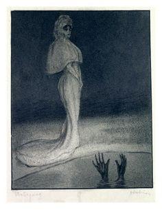 Giclee Print: Alfred Kubin Art Print by Alfred Kubin : Nocturne, Illustrations, Illustration Art, Alfred Kubin, Art Nouveau, Yellow Art, Famous Art, Surreal Art, Figurative Art