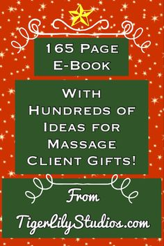 Just in time for the holidays! Oodles & oodles of creative & affordable ideas for #massage client gifts! (Both holiday gifts and year-round gifts!) http://www.tigerlilystudios.com/massage_marketing_parting_gifts_ebook.php