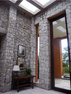 tall stone walls & tall windows, roof window