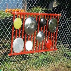Music Wall:  I want to make this for my daycare kids ... maybe adding some various lengths/widths of pipe to bang on also!