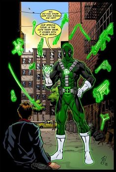 OK who's bright idea was it to give Deadpool a Green Lantern Ring?!?!