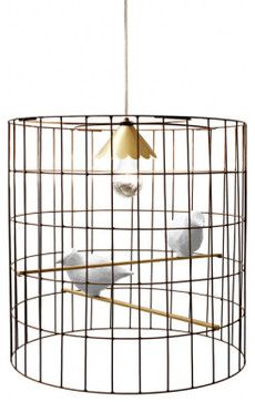 I love these little bird cage lights. So sweet.   Mary Ohl Pendant eclectic pendant lighting STray Dog Designs