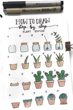 25 Best Succulent & Cactus Doodle Ideas For Bujo Addicts - Crazy Laura - Scrapbook - 20 Creative step by step cactus and succulent doodle ideas for your bullet journal - Bullet Journal Banner, Bullet Journal Aesthetic, Bullet Journal Notebook, Bullet Journal Ideas Pages, Bullet Journal Inspiration, Bullet Journals, Doodle Inspiration, Bullet Journal Water Tracker, Travel Inspiration