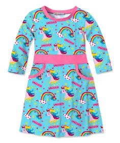 Take a look at this Turquoise Rainbow & Unicorn Pocket Dress - Toddler & Girls today!