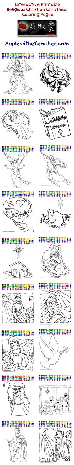 Printable interactive Christmas coloring pages, Christmas coloring pages for kids  http://www.apples4theteacher.com/coloring-pages/christian-christmas/