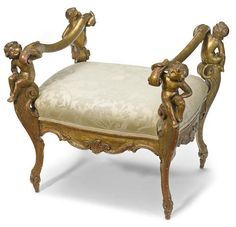 An Italian rococo style carved giltwood stool 20th century