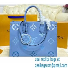 Louis Vuitton Monogram Empreinte Leather OnTheGo MM Tote Bag M45718 Summer Blue By The Pool Capsule Collection 2021