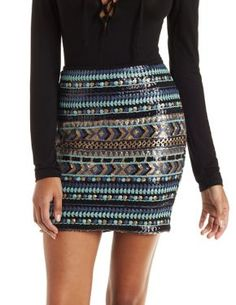 Tribal Sequin Mini Skirt
