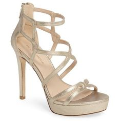 Women's Pelle Moda Olympic Platform Sandal (3.175 ARS) ❤ liked on Polyvore featuring shoes, sandals, heels, platinum gold leather, leather strap sandals, metallic platform sandals, platform heel sandals, metallic sandals and leather heeled sandals
