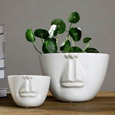 home&lifestyle - nordic style half white ceramic human face is available at Department Golden Pineapple Please PM/emails us for further info (forest Nordic Style, Pottery Vase, White Ceramics, Pineapple, Gardening, Decorations, Lifestyle, Face, Happy