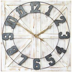ShopStyle Look by peplumsandpineapples featuring Stratton Home Decor Rustic Farmhouse Wall Clock Rustic Wall Clocks, Farmhouse Wall Clocks, Rustic Walls, Farmhouse Furniture, Clock Wall, Wall Décor, Rustic Wood, Rustic Cabin Decor, Rustic Farmhouse