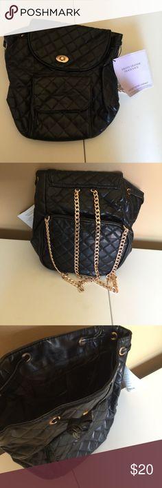 Ariana Grande Mini backpack Ariana Grande Backpack Hand Bag Black Quilted gold chain gwp women faux leather, 100% polyester Ariana Grande Bags Mini Bags