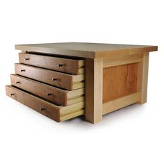 A larger version of the mission jewelry box. Overall dimensions are 20 W by 13.5 D by 9 H. The internal dimensions of the drawers are 13.5 by 10. The jewelry box is made from solid cherry, with the exception of the box back and drawer bottoms. The back is birch plywood stained to match. The drawers are dovetailed and made from poplar. I used a different set of stainless steel knobs for this one. The 5th picture shows the size relative to the regular mission boxes.    Ready to be customized…