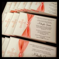Peach & gold baptism invitations! #baptism #baptisminvites #bowsdoneright #peach #gold #ingledewinvites