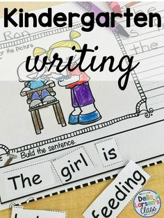 Reading, Writing, and Sentence Building Kindergarten Writing Prompts, Kindergarten Readiness, Literacy Skills, Kindergarten Classroom, Literacy Centers, Kindergarten Worksheets, Sentence Building, Writing Programs, Teaching The Alphabet