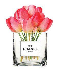 Flor de Chanel acuarela arte tulipanes imprimir por hellomrmoon Besuche unseren Shop, wenn es nicht unbedingt Chanel sein muss.... ;-)