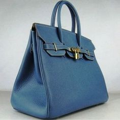Hermes Birkin Bag 35 Leather Royal Blue Gold 01 Frockage: Hermes Birkin bag