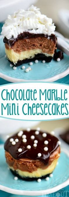 easy Chocolate Marble Mini Cheesecakes are the perfect treat to make for a crowd! Creamy and decadent, these cheesecakes start with a chocolate crust, creamy chocolate marble cheesecake filling, and are topped with decadent chocolate ganache. Mini Desserts, Easy Desserts, Dessert Recipes, Swiss Desserts, Keto Desserts, Dutch Desserts, Filipino Desserts, Frozen Desserts, Plated Desserts