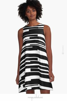 'Organic No. 11 Black & White' A-Line #Dress by Menega Sabidussi @redbubble Women Casual Designer Print Clothing #fashion #aparrel #lifestyle #aline