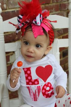 Items similar to Baby Girl Valentine Bodysuit - LOVE - hand cut applique in adorable fabrics - red, pink, hearts on Etsy Baby Girl Valentine Outfit, Valentines Outfits, Baby Girl Christmas, Sewing Crafts, Sewing Ideas, Valentine's Day Outfit, Have Time, Shirts For Girls, Hair Bows