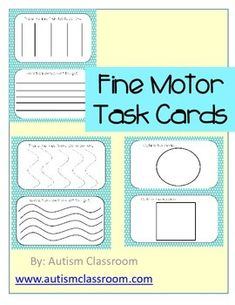 Teach fine motor skills using play dough, dry erase markers, fingers or yarn. Task cards to laminate and use over and over for tracing horizontal, vertical, slanted lines, C's, V's O's T's and shapes. An Occupational Therapy, Parent, Autism and Special Education product. #autism #specialeducation #specialneeds