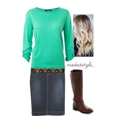 """""""Denim and brown"""" by modeststyle-studio on Polyvore"""