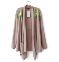 Paillette Embellished Irregular Cardigan Khaki –New Arrivals! www.mucaboutique.com