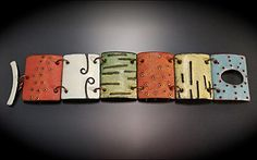 Angela Gerhard, Patchwork Bracelet, Vitreous enamel on coper Heart Jewelry, Jewelry Art, Jewelry Ideas, Jewellery, Enamel Jewelry, Copper Jewelry, Polymer Clay Bracelet, Vitreous Enamel, Weird Creatures