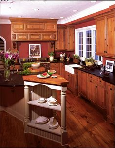 Lots of rich dark wood in this kitchen creates a warm look http://www.remodelormove.com/articles/how-much-does-it-cost-to-remodel-a-kitchen