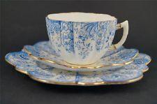 PARAGON Antique ART NOUVEAU Cup Saucer Plate TRIO Blue Wileman Daisy Shape c1903