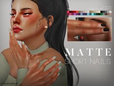 Matte short shaped nails for your ladies, 40 solid colors + 10 double colored designs.  Found in TSR Category 'Sims 4 Female Rings'