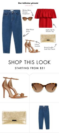 """""""Una bellissima giornata"""" by yourstylemood ❤ liked on Polyvore featuring Schutz, Michael Kors, Loeffler Randall, WithChic, jeans, outfitoftheday, polyvorecontest and redtop"""