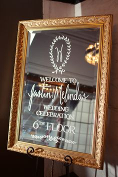 Mirror Welcome Sign - Sarah Kate Photography