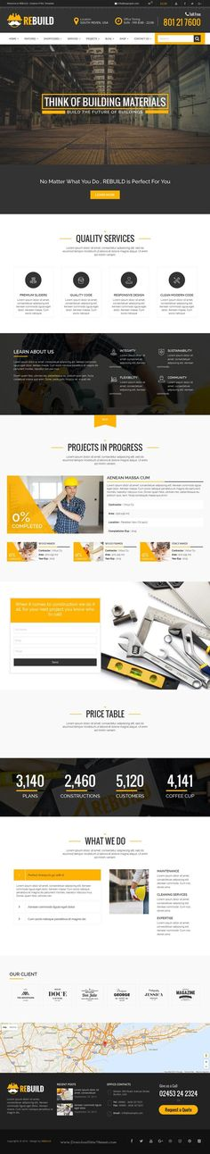 Buy ReBuild - WP Construction & Building Business Theme by janxcode on ThemeForest. Overview ReBuild is a clean and modern business theme designed to serve construction, maintenance, building compan. Website Layout, Website Themes, Web Layout, Layout Design, Creative Web Design, Web Design Tips, Web Design Trends, Design Ideas, Construction Website