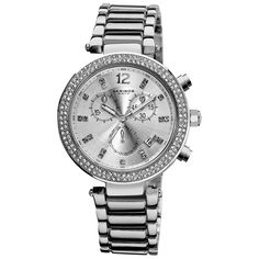Women's Akribos XXIV AK529SS Silver-tone Swiss Chronograph Crystal Bezel Watch - FREE DIAMOND CHAIN LINK WATCH INCLUDED WITH PURCHASE #chronograph #crystal #bezel #watch #swiss #tone #akribos #xxiv #silver #womens