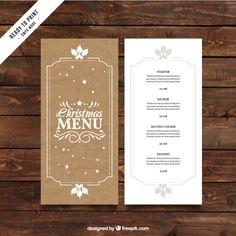 Retro christmas menu template in cardboard style Free Vector