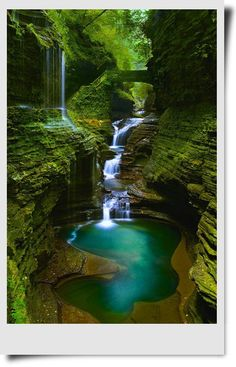 Rainbow Falls_Watkins Glen State Park - Oriel D. Rainbow Falls_Watkins Glen State Park Rainbow Falls_Watkins Glen State Park, New York This place is usually filled with people. The best time to take photos without anybody in the pictures is at 7 am. Beautiful Places To Travel, Cool Places To Visit, Places To Go, Amazing Places, Beautiful Waterfalls, Beautiful Landscapes, Natural Waterfalls, Beautiful Scenery, Fantasy Art Landscapes