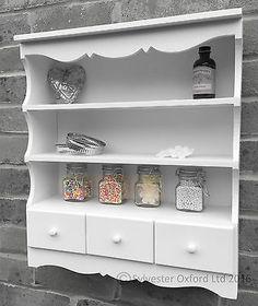 Pretty-shabby-chic-WALL-DISPLAY-UNIT-Shelving-unit-in-WHITE-storage-shelf
