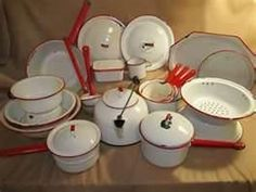 enamel ware Enamel Ware, Red Kitchen, White Enamel, Granite, Cast Iron, Red And White, Cabinets, Household, Antiques