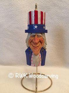 Uncle Sam Ornament Patriotic Wood Carving by RWKWoodcarving