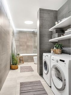 60 most popular laundry room with toilet design ideas for 2020 – Laundry Room İdeas 2020 Modern Laundry Rooms, Laundry Room Layouts, Laundry Room Remodel, Basement Laundry, Basement Bathroom, Bathroom Layout, Remodel Bathroom, Laundry Room Design, Bathroom Design Small