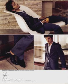 Diego Luna in an Eames La Chaise made by Vitra