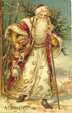 Vintage Santa With Staff & Toys & Christmas Tree Vintage Christmas Images, Christmas Scenes, Christmas Past, Victorian Christmas, Father Christmas, Christmas Holidays, Xmas, White Christmas, Christmas Mantles