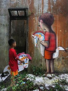 "Street art in Kuda Lumping by SETH (Merapi, Indonesie 2017) photo © Julien ""SETH"" Malland"