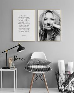 Kate Moss, Life is a Joke, Poster - Gray Wall Paint - White, Black, Gray Post . - Decorating Ideas- Kate Moss life is a joke poster gray wall paint white black gray post Gray Painted Walls, Grey Walls, Kate Moss, Room Inspiration, Interior Inspiration, Deco Addict, Apartment Living, Home And Living, Living Room