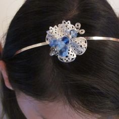 Blue and silver butterfly on a silver headband. at the Shopping Mall, $12.00 (USD)