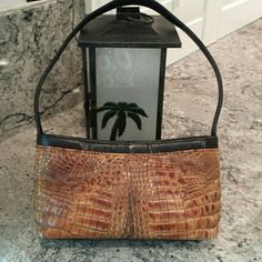 """Croc leather purse by Moalia New York Appears to be vintage Great condition Minor wear on front corners Zipper top closure No rips or tears Gold tone Zipper pulls have fading 10 1/2"""" x 5 1/2"""" x 2 3/4"""" 10"""" strap drop Moalia New York Bags"""