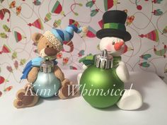Teddy bear & snowman ornaments. Handmade ornaments by me (Kim's Whimsical Clay: https://www.facebook.com/pages/Kims-Whimsical-Clay/178553212339635)