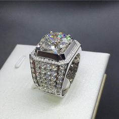 a73df4fed2d7bc Men's 925 Sterling silver Paev cz ring 2ct Simulated Diamond Engagement  Wedding Bands boys Sapphire Jewelry Size 8-13 Boy gift